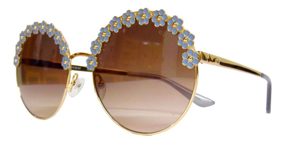 Lentes Gafas De Sol Guess Gu7587 Round Flower Suns Mujer
