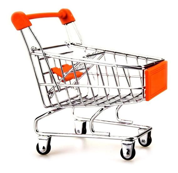 Porta Treco Mini Carrinho Compras Supermercado Decoração Cor
