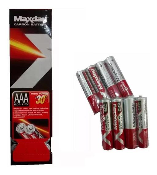 Kit 60 Pilhas Palito De Carbono Maxday 1.5v Aaa