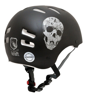 Capacete Kraft Bike, Skate, Patins - Original - Black Skull
