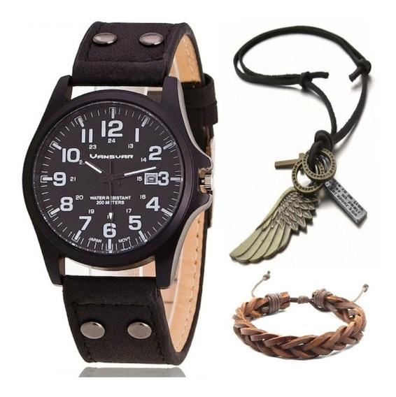 Relógio Militar Vintage Moda + Colar Asa + Pulseira Couro