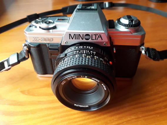 Câmera Minolta X300 Com 3 Lentes - Analógica