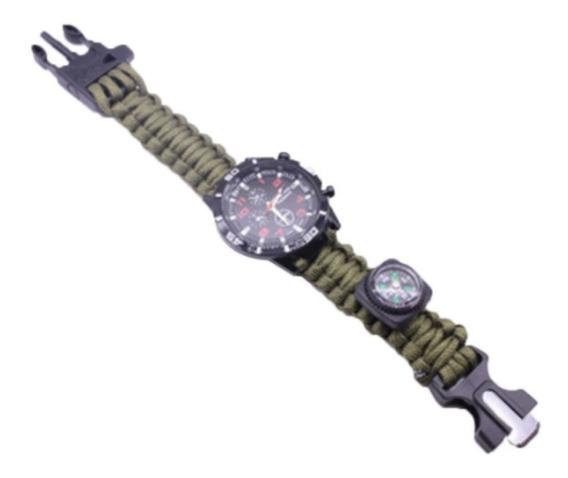 Relógio Tático Survival Paracord 5 Em 1 Militar - Verde