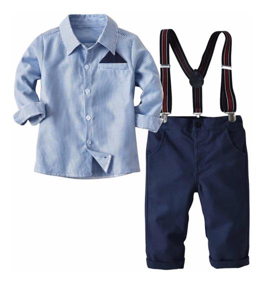 Conjunto Bebé Niño Traje Formal Pantalón Camisa Tirantes