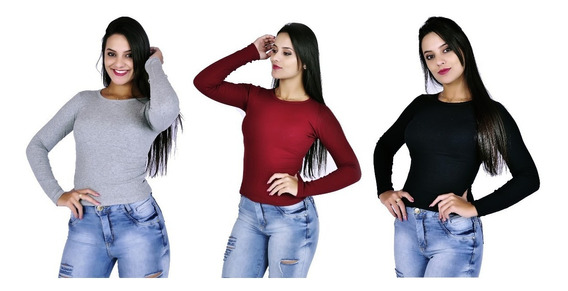 Kit 10 Blusa Feminina Manga Longa Malha Canelada Blusa Frio