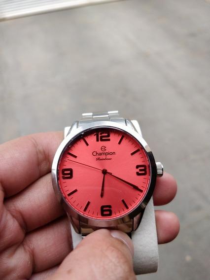 Relógio Champion Rainbow Prata E Rosa (nunca Usado)