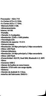 Celular Huawei Mate 20 Lite Negro 64gb