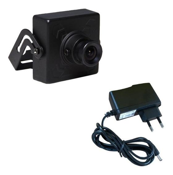 Mini Câmera De Segurança Analógica 420 Linhas- Fonte Grátis