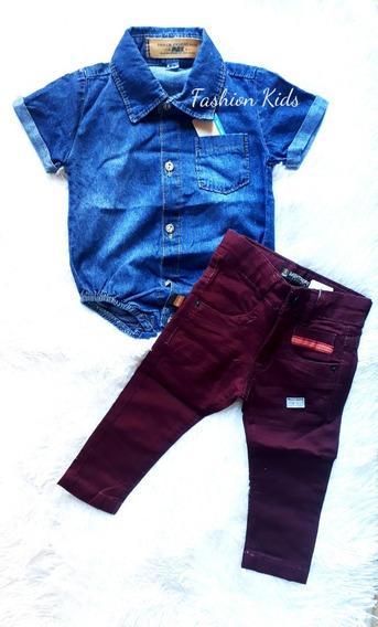 Body Camisa Jeans Curta E Calça Coloridas Bebê Menino