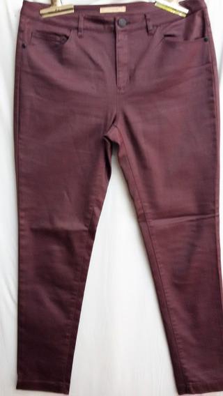 Pantalón Yamour Tipo Engomado, Elastizado Color Ciruela