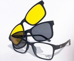 Armação Oculos Grau Sol Masculino Rb2088 2 Clip On Brinde