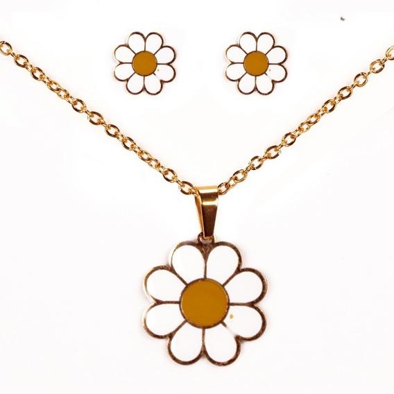 Cadena Collar De Flor Margarita Con Aretes De Acero Inox