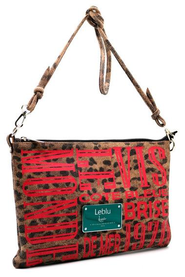 Morral Sobre Cartera Mujer Cuero Leopardo Leblu C739