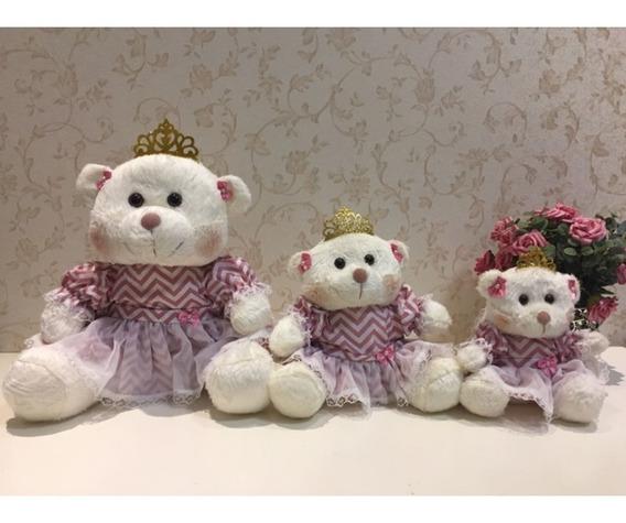Trio De Ursas Princesas G, M, P Off White/chevron