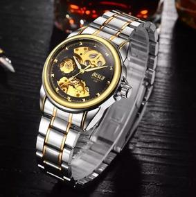 Relógio Masculino Esqueleto Semi Automático À Corda Dourado