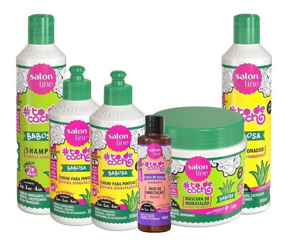 Kit Salon Line Babosa Todecacho 05 Em 01 Com 02 Cremes Pentear + Shampoo + Mascara + Condicionador + Oleo Coco Purissimo