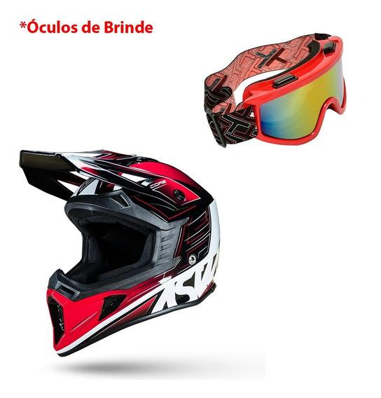 Capacete Trilha Asw Core Rush 2019 Motocross + Óculos Brinde