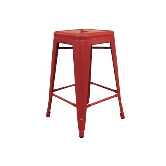 Banqueta Em Aço Fosca 61cm Vermelha