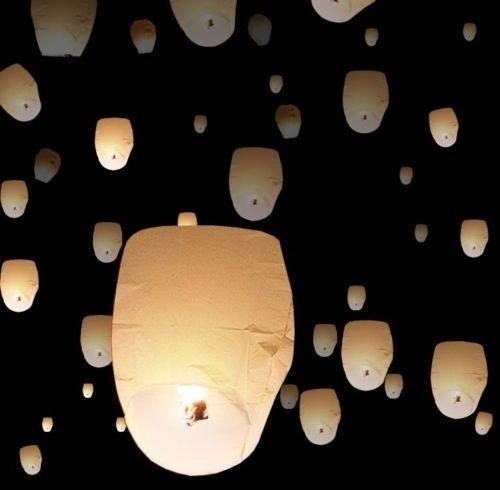20 Papel Chinês Branco Voador Desejando Lâmpada Da Lanterna
