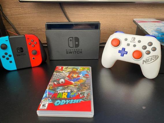 Nintendo Switch Completo + Case + 1 Jogo Mario Odyssey