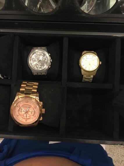 Kit 3 Relógios (michael Kors Madre Pérola E Rosê E 1 Swatch