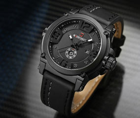 Relógio Masculino Naviforce 9099 Pulseira Couro Frete Grátis