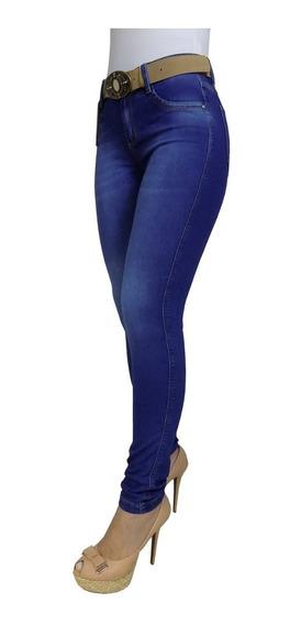 Calça Jeans Feminina Básica Escura Cinto Corrente Skinny