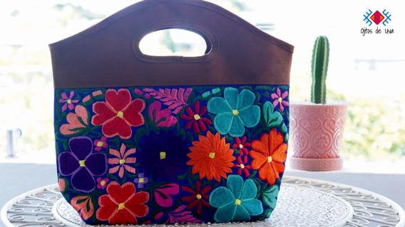 Bolsas Artesanales Con Diseños Florales Y Gamuza.