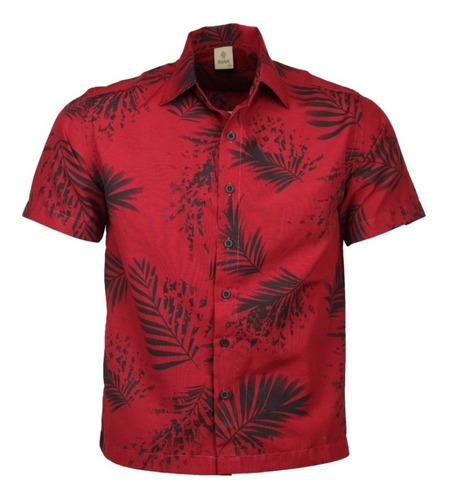 Camisa Casual Masculina Folhagens Djak Ideal Para Verão 209