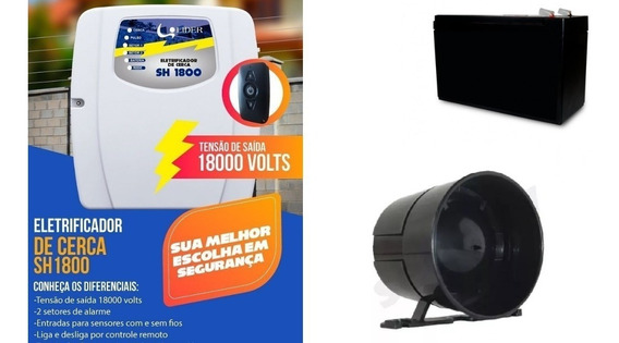 Kit Cerca Elétrica Líder+bateria+sirene+controle/frete