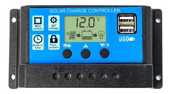 Regulador De Carga Panel Solar 30a 12v 24v Display Usb Pwm