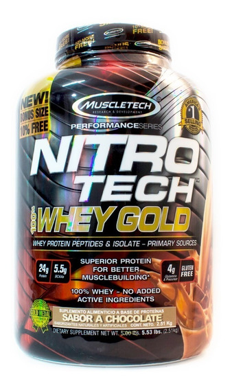 Proteina Mt Nitrotech 100% Whey Gold 5.5 Lbs Sabor Chocolate