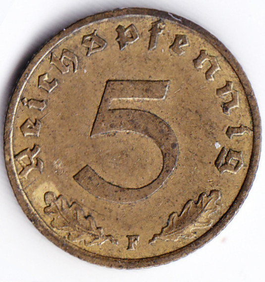 Alemania Nazi Moneda 5 Pfennig Bronce F 1939 Vf