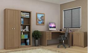 Conjunto Madeira 4 Peças Escritorio Home Office Amendoa M4
