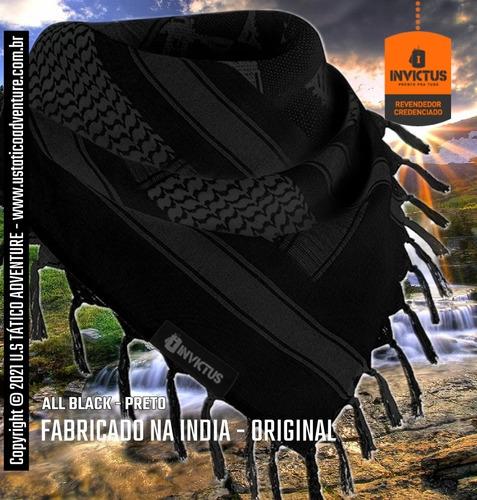 Imagem 1 de 8 de Shemagh Lenço 100% Algodão Militar Dune Preto Origem India