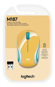 Mini Mouse Logitech M187 Sem Fio Amarelo 1000dpi
