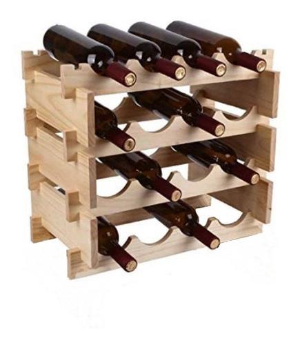 Botellero Stand Sobremesa Apilable 16 Botellas Madera Natura