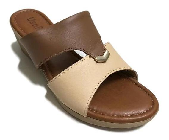 Tamanco Usaflex Anabela Soft Slim Creme/camel