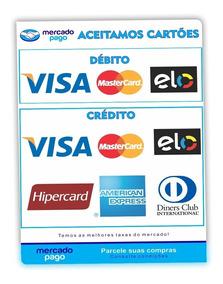 2 Adesivos Visa Master Cartão De Crédito Débito Mercado Pago