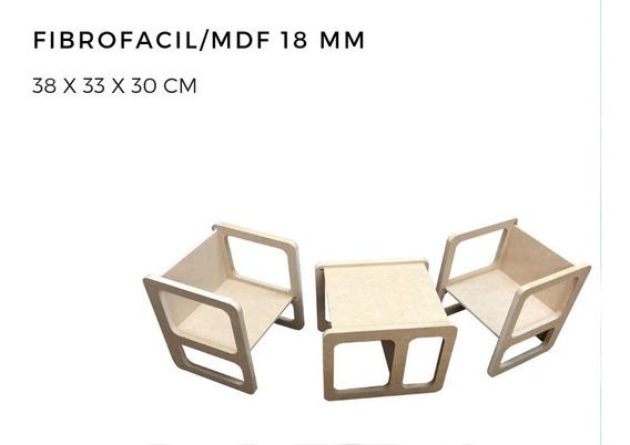 Silla Cubo 3 Posiciones Montessori Fibrofacil / Mdf Infantil