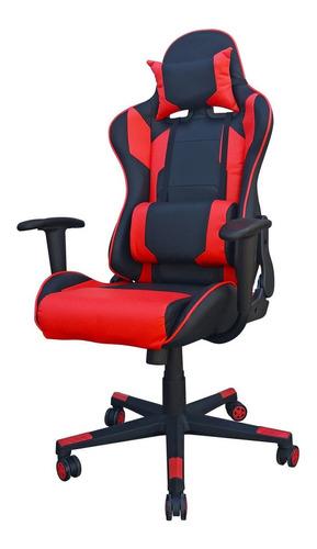 Imagen 1 de 2 de Silla de escritorio Desillas Pro Legend gamer  negra y roja con tapizado de cuero sintético