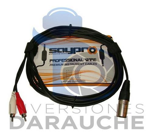 Cable Profesinal Saupro 1 Canon Macho A 2 Plug Rca De 3m