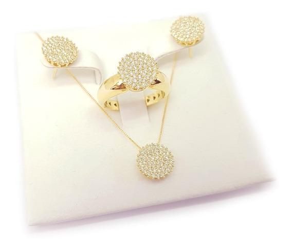 Conjunto Anel/brinco/pingente Ouro 18k 750 Com Diamantes