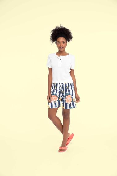 Pijama Short Doll Feminino Adulto Floral - Ref. 13178