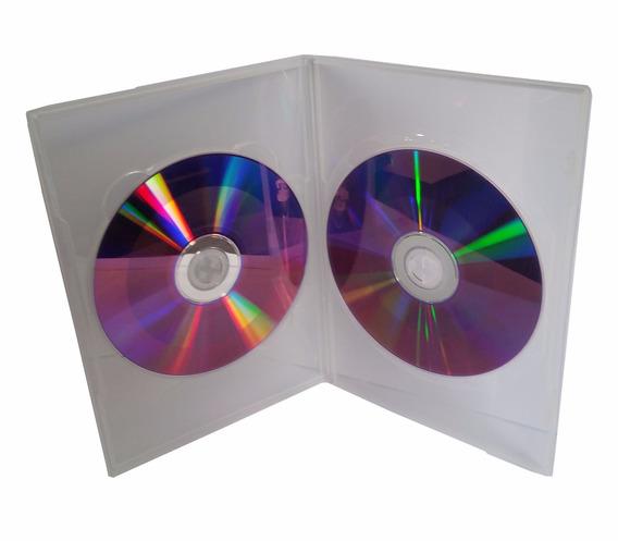 50 Capa Caixinha Dvd Slim Dupla Box Estojo Amaray Transparen