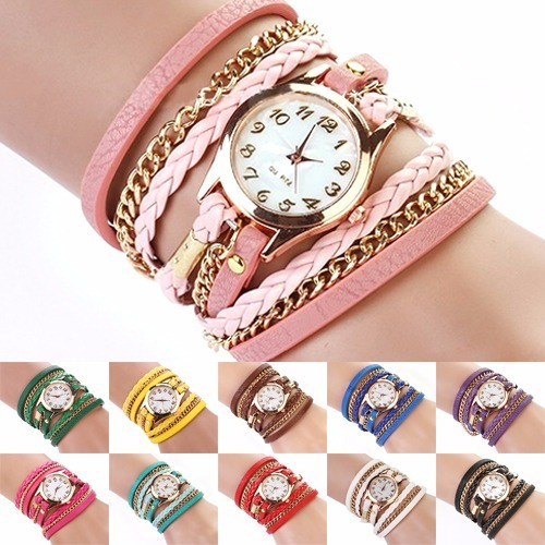 Relógio Pulso Feminino Vintage De Couro Bracelete Corrente