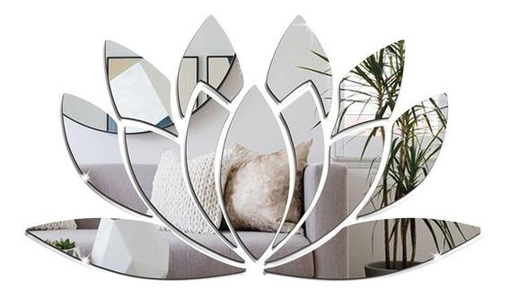 Espelho Decorativo Flor De Lótus 80 X 46 Cm - Tamanho Grande