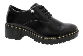 Sapato Oxford Verniz Quiz Feminino Preto
