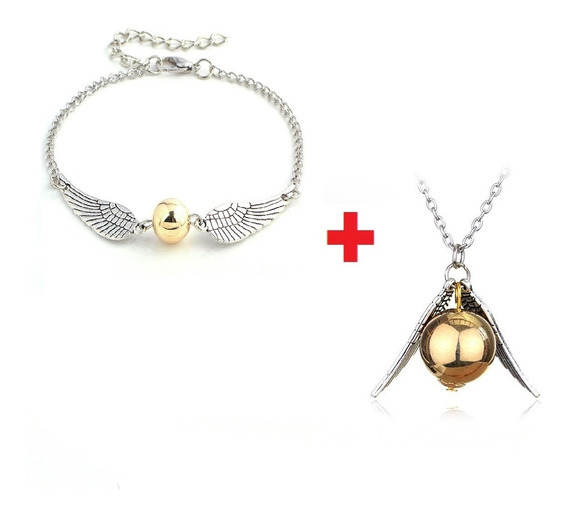 Conjunto Pulseira E Colar Pomo Dourado Harry Potter + Brinde