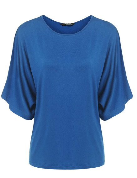 Mulheres O -neck Batwing Manga Sólido Casual Solto Fit Blus